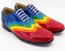 Rainbow Wingtip Dress Shoe - Men's Sizes 5 or Women's 6.5