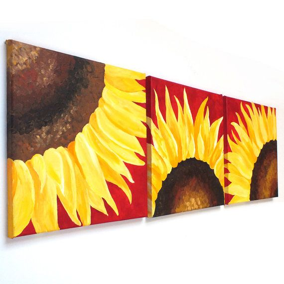 SUNFLOWERS ON RED   Set of 3 12x12 Abstract Paintings   by nJoyArt  #painting #home decor #office art