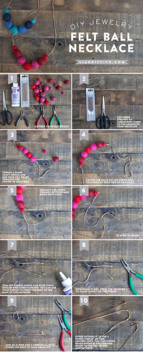 Tutorial for felt ball necklace with two options for material to string the felt pompoms. DIY Felt Ball Necklace