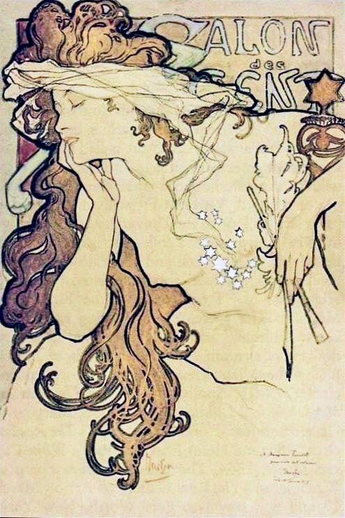 Alphonse Mucha - Poster for 'the XXth Salon des Cent, Paris' study watercolour and gouache 1896