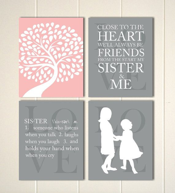 Siblings wall art, sisters art, girls bedroom, girls room decor, shared bedroom, twins wall art, by PicabooArtStudio, $28.00