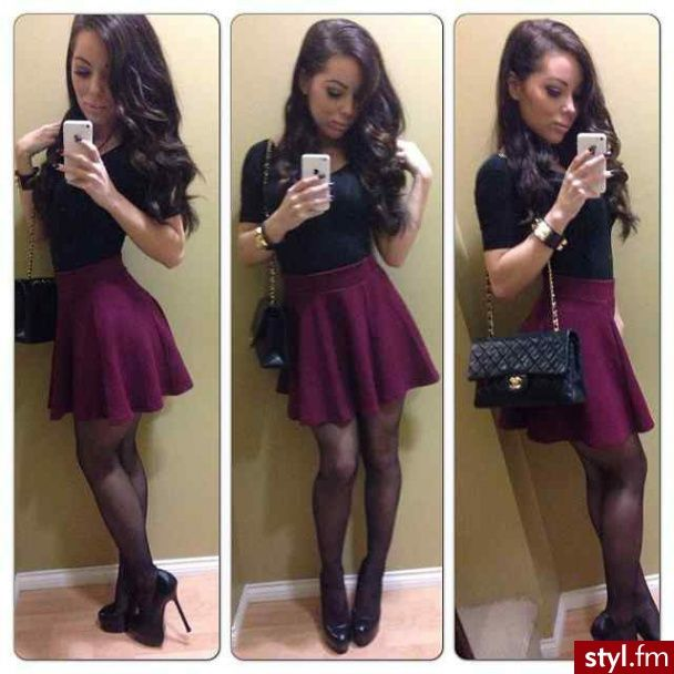love the dark purple skater skirt...perfect for a night out!