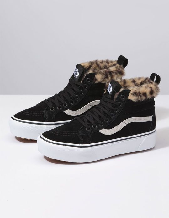 VANS SK8-HI Platform MTE Black & Leopard Fur Womens Shoes | style ...
