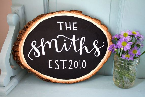 This listing is for a personalized chalkboard message on a tree cut out, wooden oval slice. Each piece is carefully hand lettered using the custom