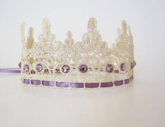 Pearl and Plum Purple Lace Crown - Vintage Inspired Princess Crown - Birthday Crown and Photography Prop - Newborn, Baby, Child