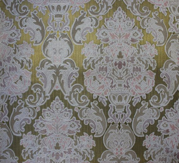 S Embossed Pink And White Damask On Gold Vintage Wallpaper Made In England