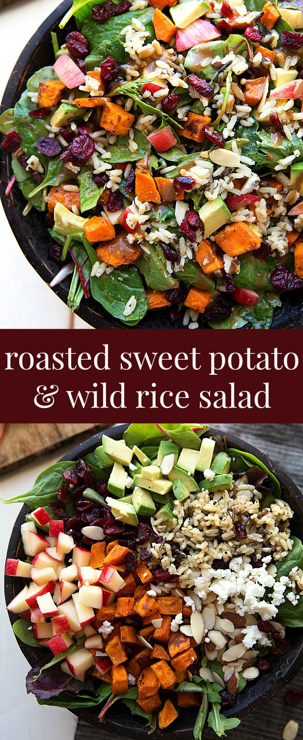 The best hearty and healthy Thanksgiving salad - mixed greens with roasted sweet potato, seasoned wild rice, cranberries, almonds, avocado, and cheese with a creamy lemon balsamic dressing.  This would be good without the rice