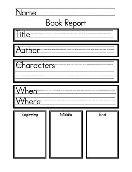 My first item on teacherspayteachers.com! Kindergarten Book Reports for Homework