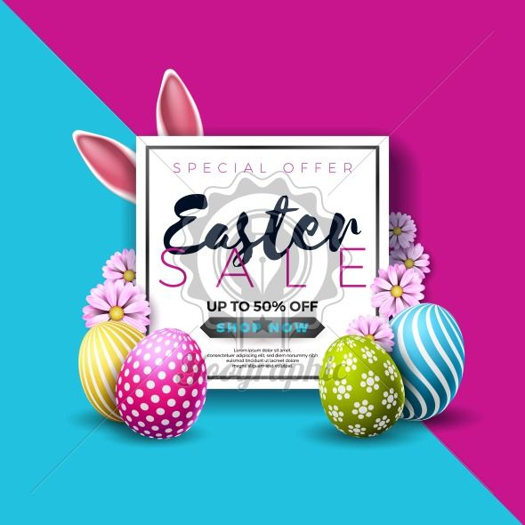 Easter Sale Illustration with Color Painted Egg and Typography Element on Abstract Background. Vector Holiday Design Template for Coupon, Banner, Voucher or Promotional Poster.. - Royalty Free Vector Illustration