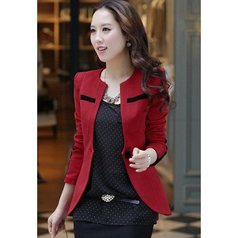 Long Sleeves Single-Button Korea Stylish Polyester Women's Blazer, WINE RED, L in Blazers | DressLily.com
