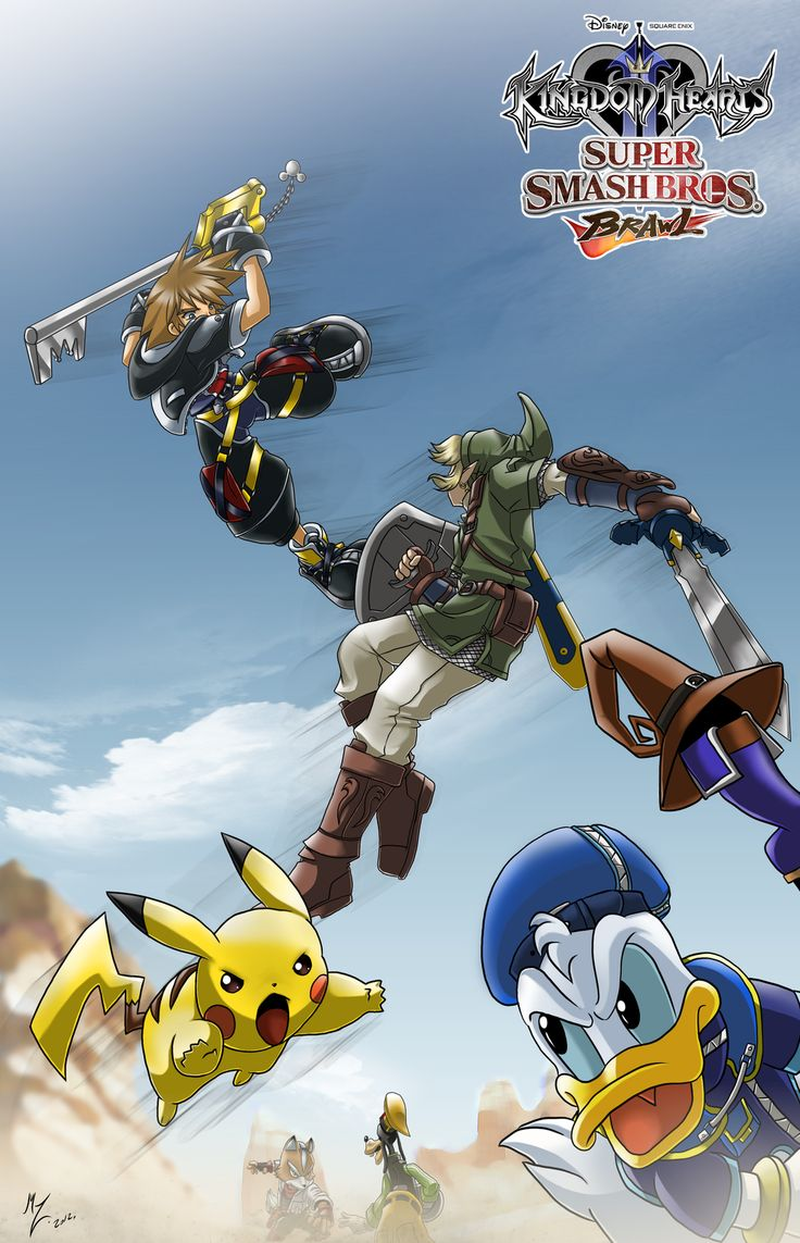 What.. WHAT? WHAT EVEN IS THIS? THIS IS BEAUTIFUL. Its a Kingdom Hearts / Super Smash Bros. Brawl crossover!! O.O