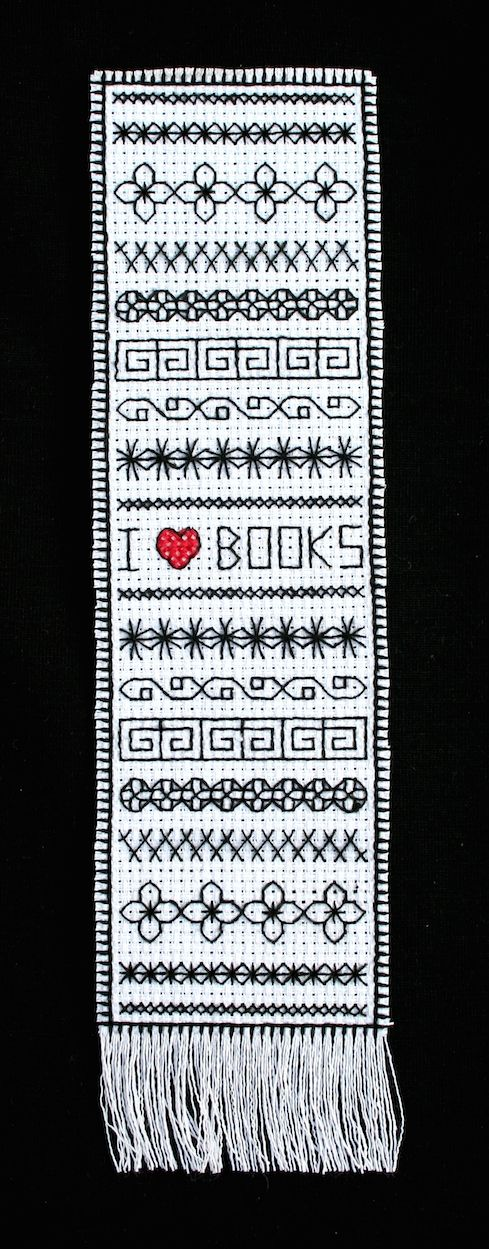"""I <3 BOOKS"" blackwork bookmark pattern chart     Stitches 'N' Dreams"