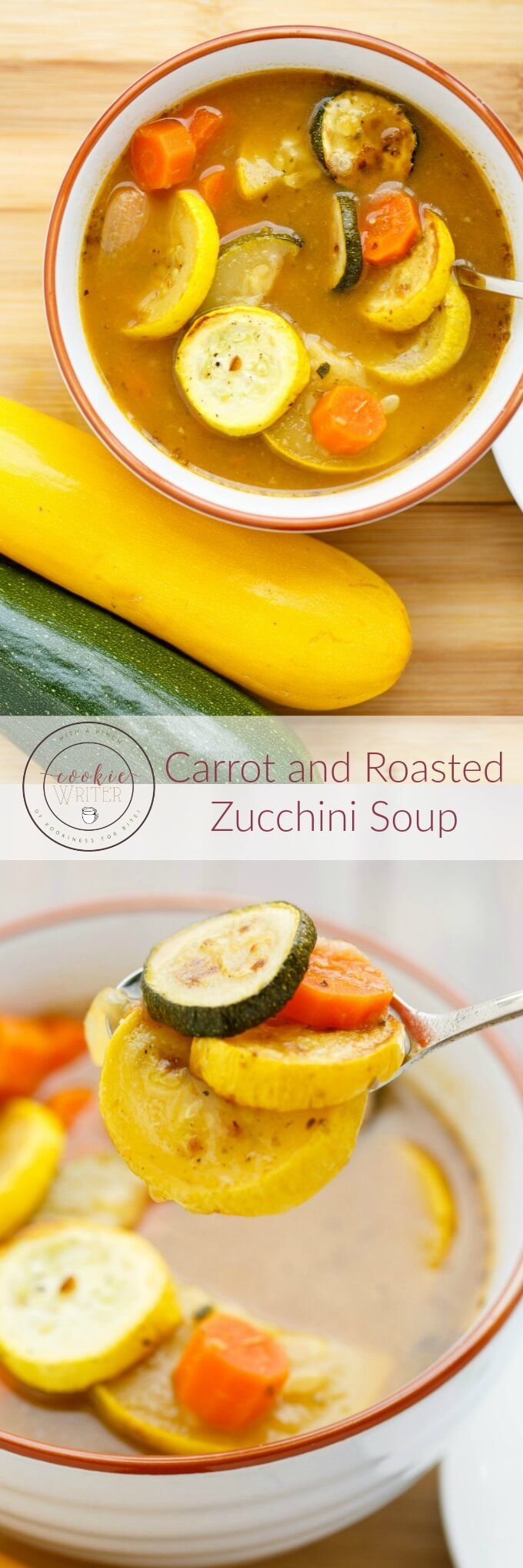 Carrot and Roasted Zucchini Soup | http://thecookiewriter.com | @thecookiewriter | #soup