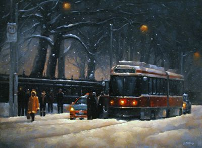 Streetcar Evening Snow