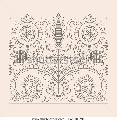 Traditional Floral Hungarian Pattern from Kalotaszeg Region of Transylvania