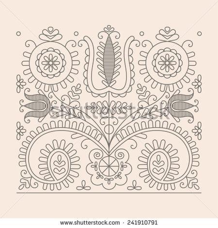 Traditional Floral Hungarian Pattern from Kalotaszeg Region of Transylvania