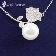 2016 BEST SELLING Silver flower Pendant Necklace gift girlfriend women wedding Valentines Day love 925 jewelry(China (Mainland))