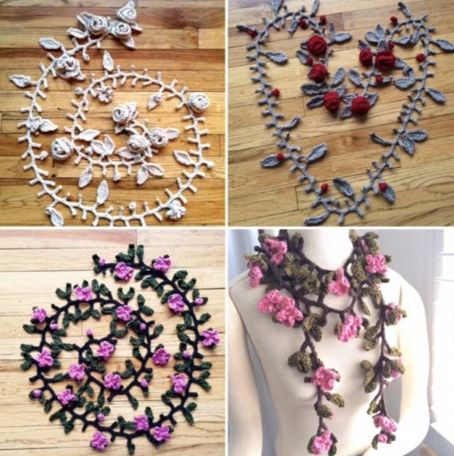 flower garland crochet scarves