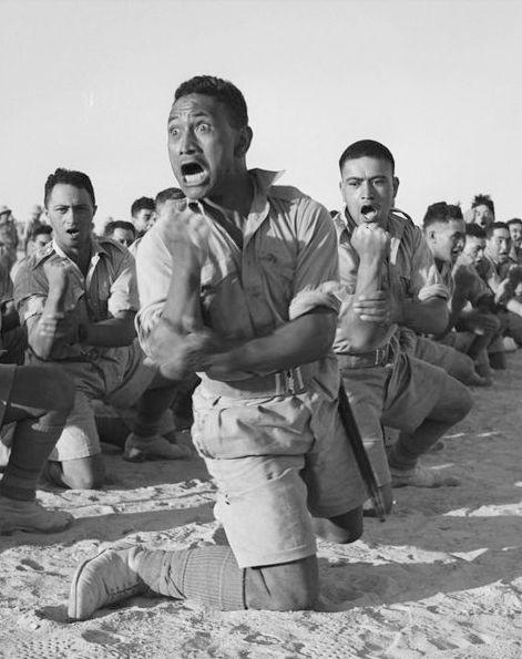 New Zealand Maoris perform the traditional Haka war dance, North Africa, World War Two