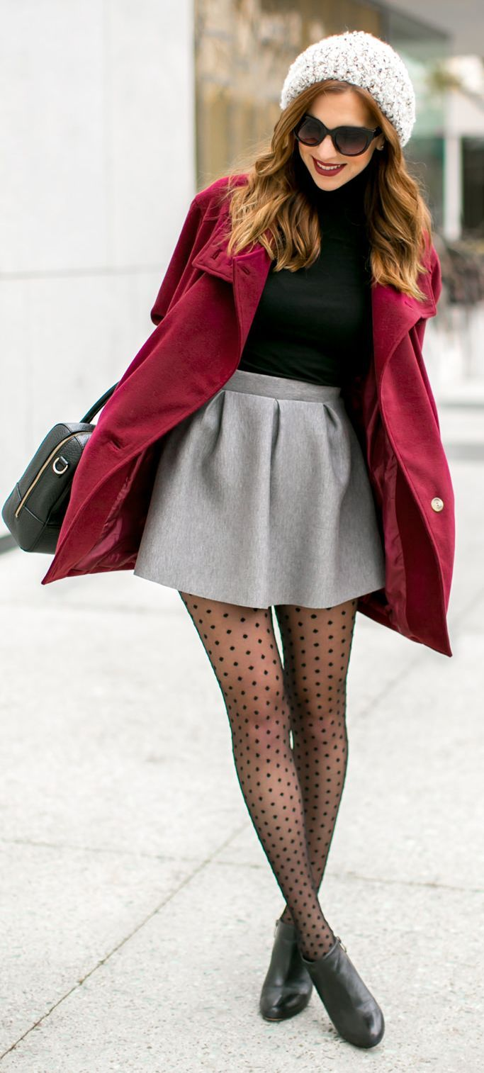 Black Sheer Polka Dot Tights. This whole ensemble is so cute! Get the look: http://www.brightlifedirect.com/rejuvahealth-polka-dot-pantyhose-15-20mmhg.asp