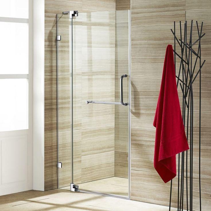 "Vigo VG604242 Pirouette 72"" High x 36"" or 42"" Wide Hinged Frameless Shower Door Clear / Chrome Showers Shower Enclosures Swing"