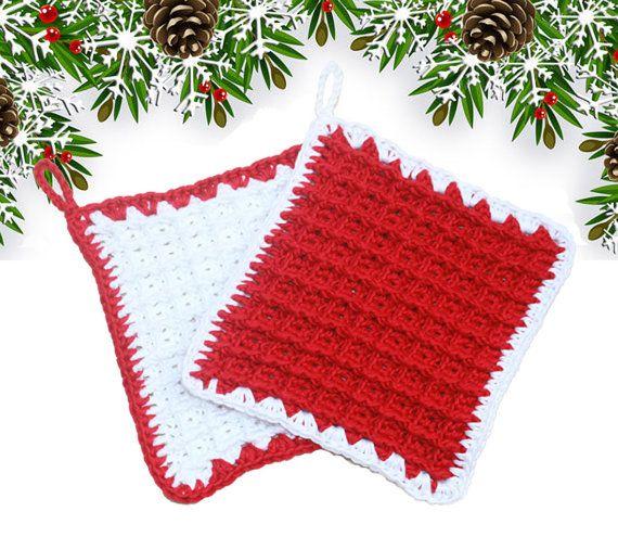 Coppia di presine/sottopentola natalizie in puro cotone lavorate a mano ad uncinetto di UncinettinaStyle