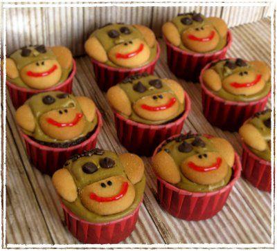 monkey cupcakes: Kara S Cupcakes, Sock Monkeys, Cupcake Recipes, Kid Recipes, Themed Cupcakes, Sock Monkey Cupcakes, Cupcake Ideas, Monkey Cupcakes Must, Birthday Ideas