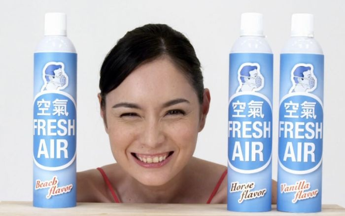 Fresh Air in a spray can - It is actually needed in many cities of today, especially in China.