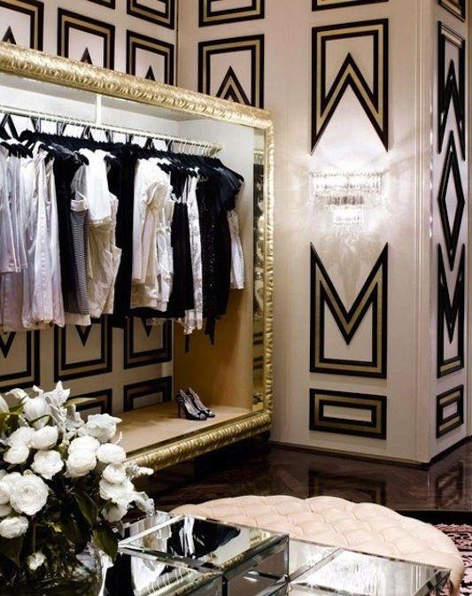 Wallpapered Dressing Room