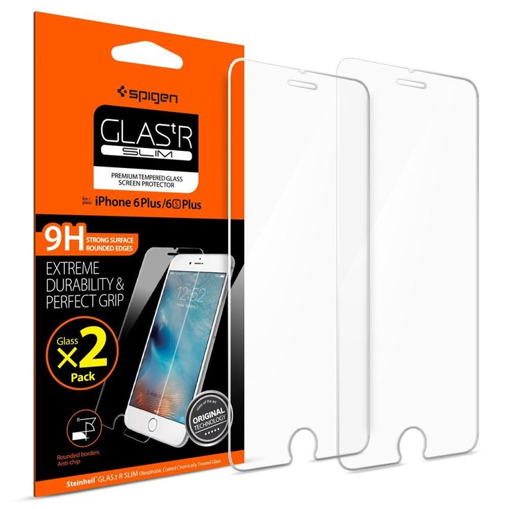 Spigen iPhone 6 Plus Screen Protector Tempered Glass / 2 Pack / Case Friendly fo    eBay