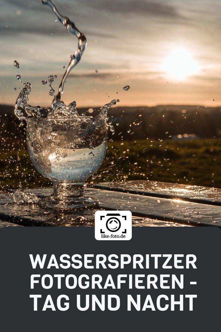 Kreative Fotoidee: Wasserspritzer fotografieren bei Nacht