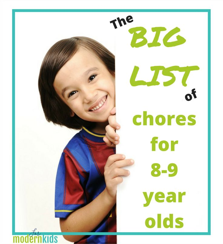 Need a list of chores for 8-9 year olds? This list will give you ideas for helping around the house, personal responsibility and more tasks young kids in this age range can do.
