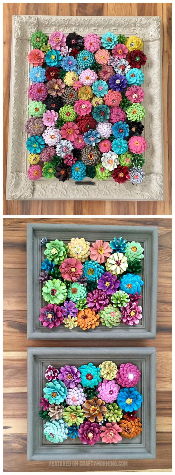 These pinecone flowers in a frame are so pretty! Perfect craft for summer or spring. Makes a beautiful wall art piece. - This would be pretty with paper flowers too!