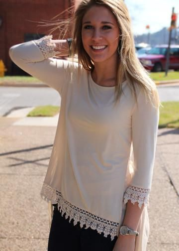 I love the lace details of this top. This Lace Top is the perfect addition to your closet this fall! Fall shirts area always wonderful with booties. Put on your favorite scarf to finish this fall outfit.