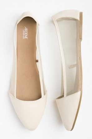 Beige leather flats