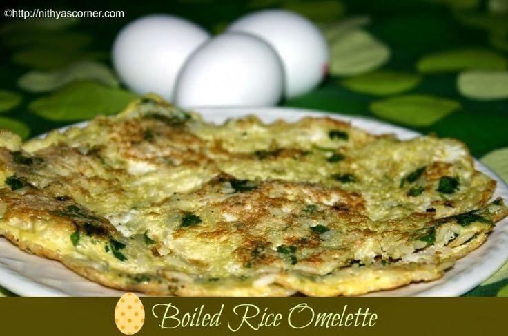 Rice Omelette, Steamed Rice Egg Omelette Recipe, Rice Egg Omelette. An easy omelette made with eggs and steamed rice.