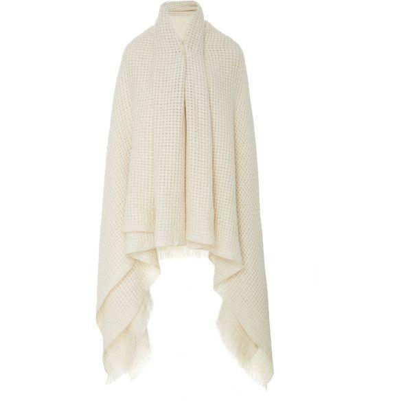Cashmere Blanket Shrug   Moda Operandi ❤ liked on Polyvore featuring outerwear, cardigan shrug, shrug cardigan, cashmere shrug, white shrug and white shrug cardigan