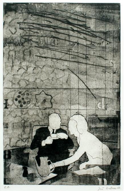 Jiří Balcar: Odpolední káva / 1967 / lept, suchá jehla na papíře / 49,5 x 32,7 cm