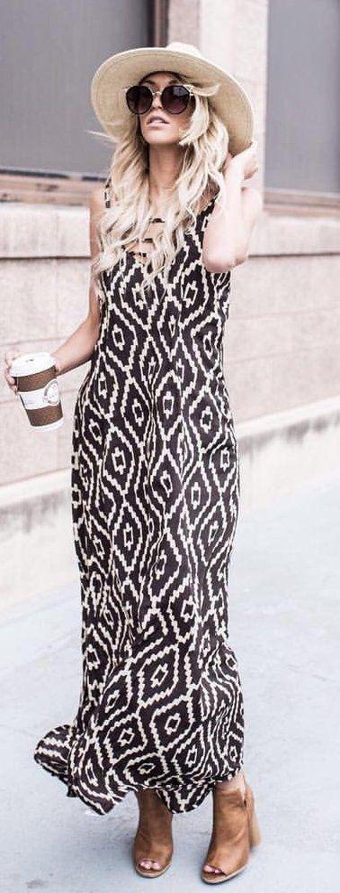 #summer #outfits Light Hat + Pattern Maxi Dress + Brown Open Toe Booties