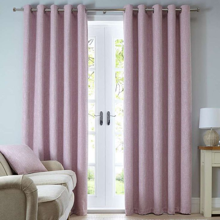 Boucle Pink Eyelet Curtains | Dunelm