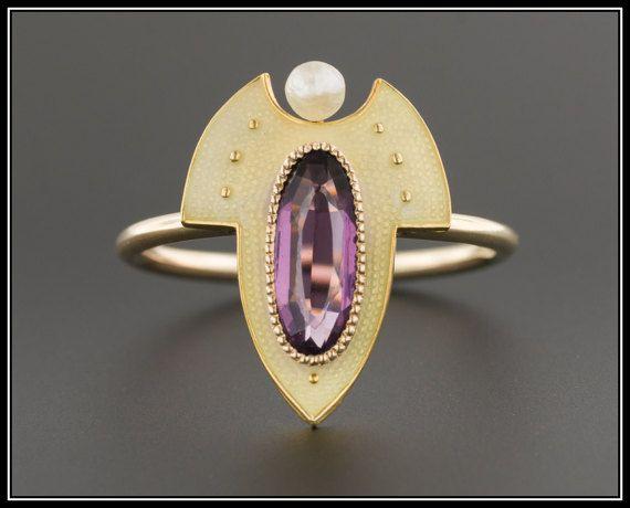 Anneau de Doublet 10 k or verre violet | Ancienne bague de Conversion Stick Pin | Bague en émail améthyste & Pearl | 10k bague en or