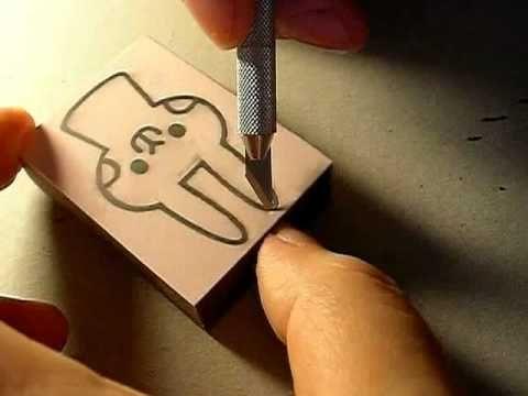 消しゴムはんこで年賀状用のウサギを彫る1 - YouTube