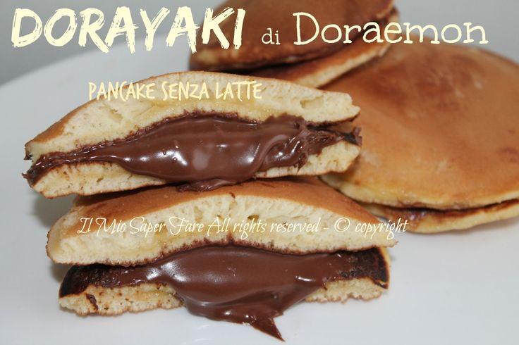 Dorayaki pancake senza latte di Doraemon ricetta facile.Merenda sana che piace a tutti Impasto pancake con acqua,farciti con nutella invece della salsa anko