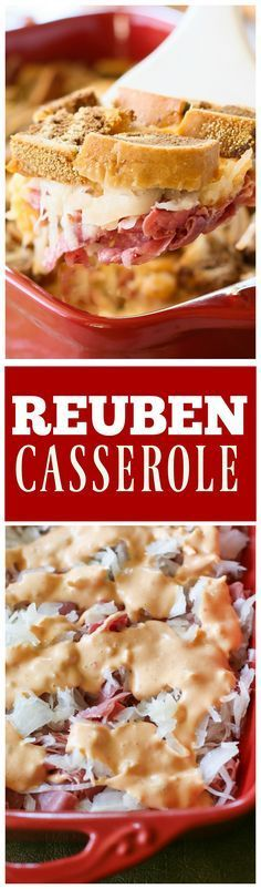 Reuben Casserole - all the layers of your favorite Reuben sandwich in casserole form! the-girl-who-ate-everything.com