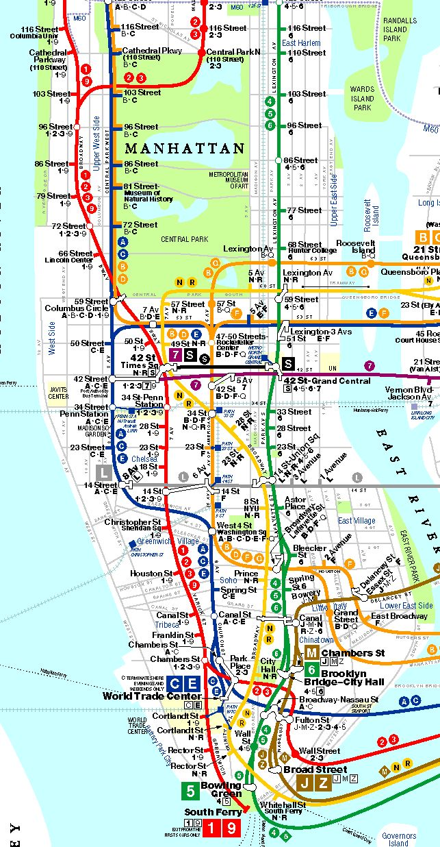 Nyc Street Map With Subway Stops