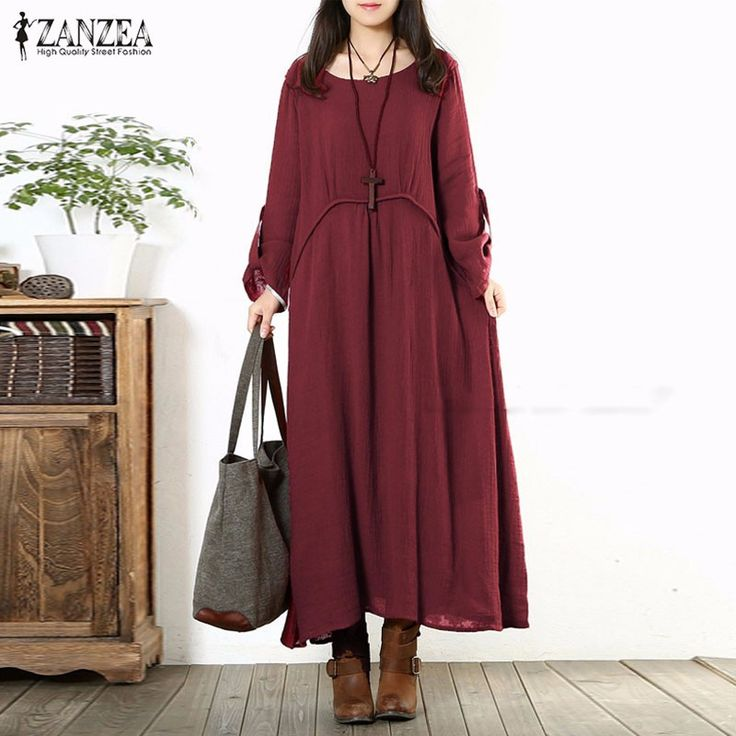 Cheap dresses princess, Buy Quality dress vests for men directly from China dress up casual dress Suppliers: Fashion Autumn Dress 2017 Women Vintage Casual Loose Long Sleeve Long Maxi Dresses Oversized Vestidos Plus Size S-5XL