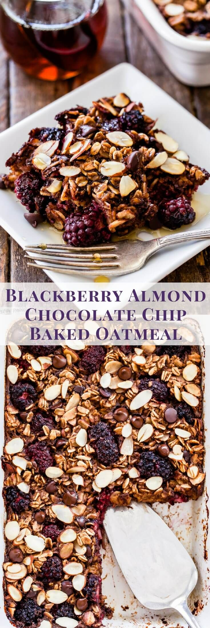 Baked oatmeal is the perfect way to warm up on a crisp fall morning. You'll love this Blackberry Almond Chocolate Chip Baked Oatmeal! It has just the right amount of sweetness from the dark chocolate, tartness of the blackberries and crunch from the almonds. Drizzle it with maple syrup for a delicious weekend breakfast treat!