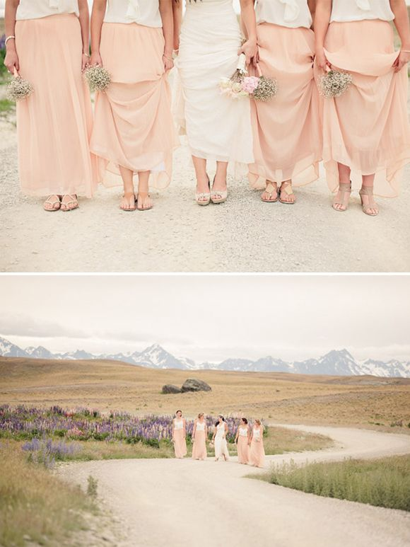 boho wedding. neutral/pastel maxi skirts with white tops. no dropping hundreds on a dress you'll never wear again.