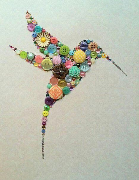 button hummingbird with rhinestone beak & tail This would be a great way to use my mom's old jewelry and vintage buttons!