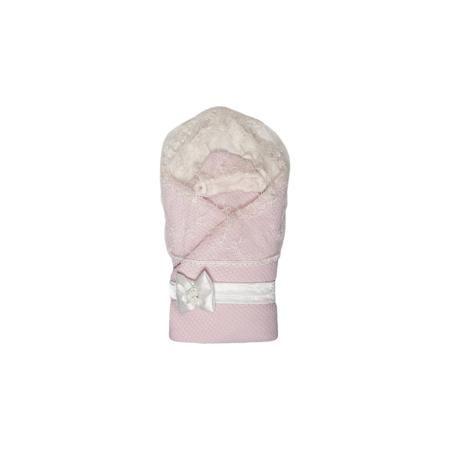 """Сонный гномик Конверт-одеяло """"Жемчужинка"""", Сонный гномик, розовый  — 2890р.  Меховой конверт «Сонный гномик» подходит для выписки из роддома и дальнейшего использования в качестве конверта или одеяла. Из конверта получается полноценное квадратное одеяло. Съемный пояс декорирован атласным бантом, который украшен розочками. В комплекте «Жемчужинка» предусмотрена съемная вуаль, чтобы защитить личико малыша от нежелательных взглядов. Вуаль крепится к капюшону с помощью липучки. Вязаная шапочка…"""
